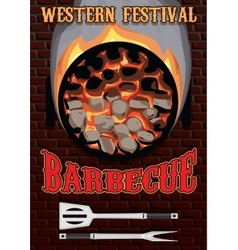 Retro poster with hot coals for barbecue vector