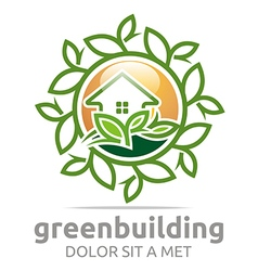 Abstract logo green building leaves house symbol vector