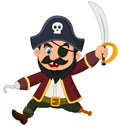 Cartoon pirate holding dagger vector