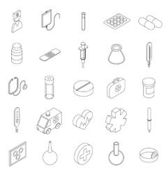 Medicine equipment icons set isometric 3d style vector image