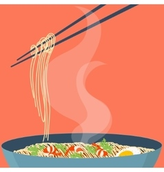 Chinese noodles poster vector