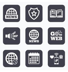 News icons world globe symbols book sign vector
