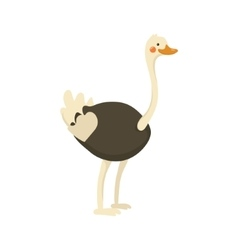 Ostrich realistic childish vector