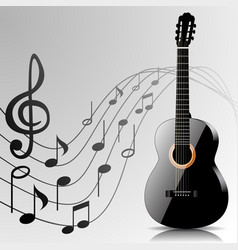 Abstract music background with guitar and notes vector