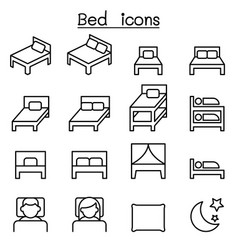 Bed icon set in thin line style vector