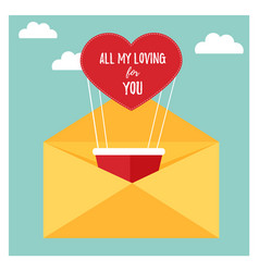 bright card with air balllon for valentines day vector image
