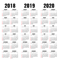 calendar template 2018 2019 and 2020 years vector image