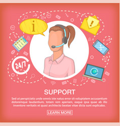 call center concept support listen cartoon style vector image vector image