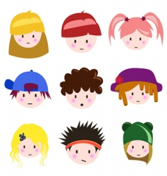 cartoon children faces vector image vector image