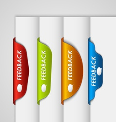 Color label bookmark feedback on the edge of web vector image vector image