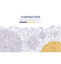 Construction doodle website template design vector