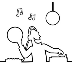 disc jockey playing a record vector image