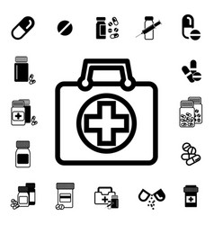 doctors bag with cross or medical suitcase icon vector image vector image