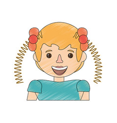 Drawing girl kid image vector