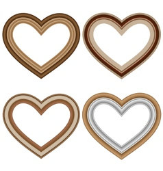 Four hearts love frames isolated on white vector image