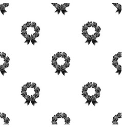 Funeral wreath icon in black style isolated on vector