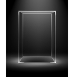 Glass box rectangle cube isolated on dark black vector