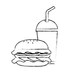 hamburger with soda icon vector image
