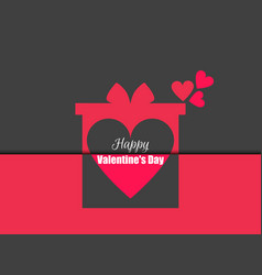 happy valentines day gift box with hearts vector image vector image