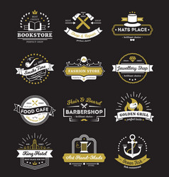Hotel stores and cafe vintage logos vector