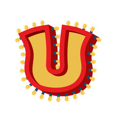 Letter u lamp glowing font vintage light bulb vector