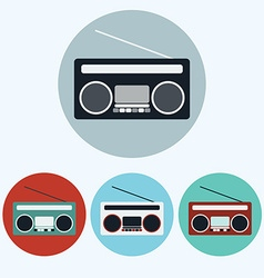 Old Vintage Boombox icon set vector image vector image