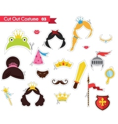 paper cut out for kids with prince and princess vector image vector image