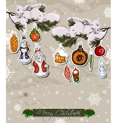 Poster with vintage Christmas decorations vector image
