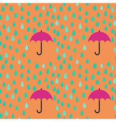 Rain drops and umbrella seamless pattern vector image vector image