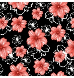 Seamless pattern with pink flowers on the black vector image vector image