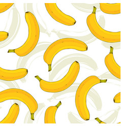 Seamless pattern with yellow bananas banana fruit vector