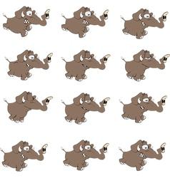 Set of elephants cartoon vector