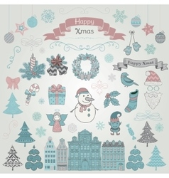 Set of Hand Drawn Artistic Christmas Doodle Icons vector image vector image
