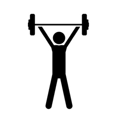silhouette monochrome with man weightlifting vector image vector image