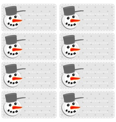 Snowman sticker labels vector image