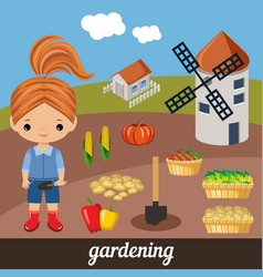 sweet girl agronomist vector image