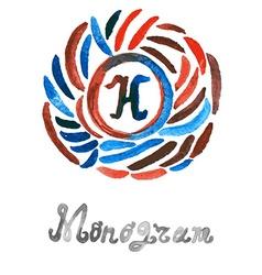 Watercolor monogram vector