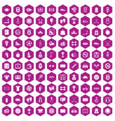 100 basketball icons hexagon violet vector