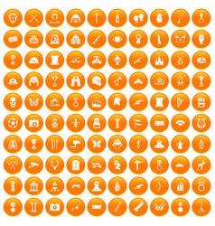 100 museum icons set orange vector