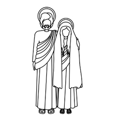 Silhouette virgin mary and saint joseph embraced vector