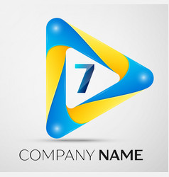 number seven symbol in the colorful triangl vector image