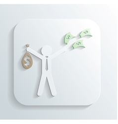 Man money bag icon vector
