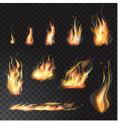 isolated set of transparent realistic flame vector image