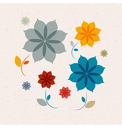 Abstract retro flowers vector