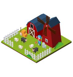 3d design for farm animals in the farm vector image vector image