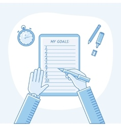 Business goals checklist flat linear icon vector
