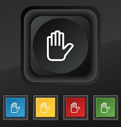 Hand print stop icon symbol set of five colorful vector