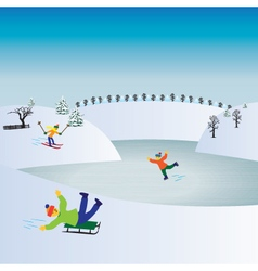 Children and winter sports kids playing winter gam vector