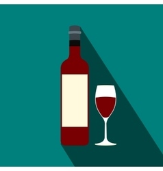 Bottle red wine and glass flat icon vector