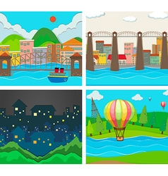 Scenes of city and countryside vector image